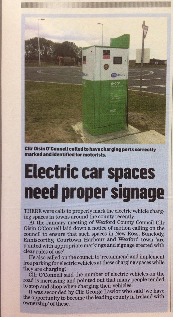 new ross standard: electric car spaces need proper signage